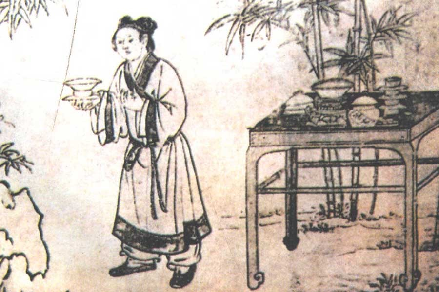 元代冯道真墓壁画《童子侍茶图》-900-500